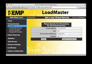 Création d'un service virtuel sur le LoadMaster de Kemp
