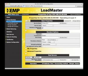 Configuration avancée du service virtuel sur le LoadMaster de Kemp